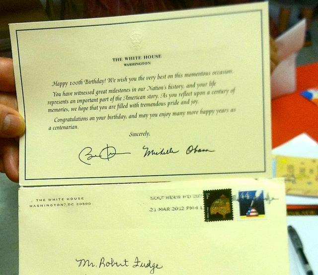 Robert Fudge receives birthday card from President First Lady on – Presidential Birthday Card